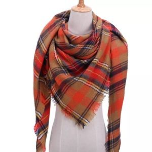 Orange Yellow Black Plaid Triangle Scarf Fall New